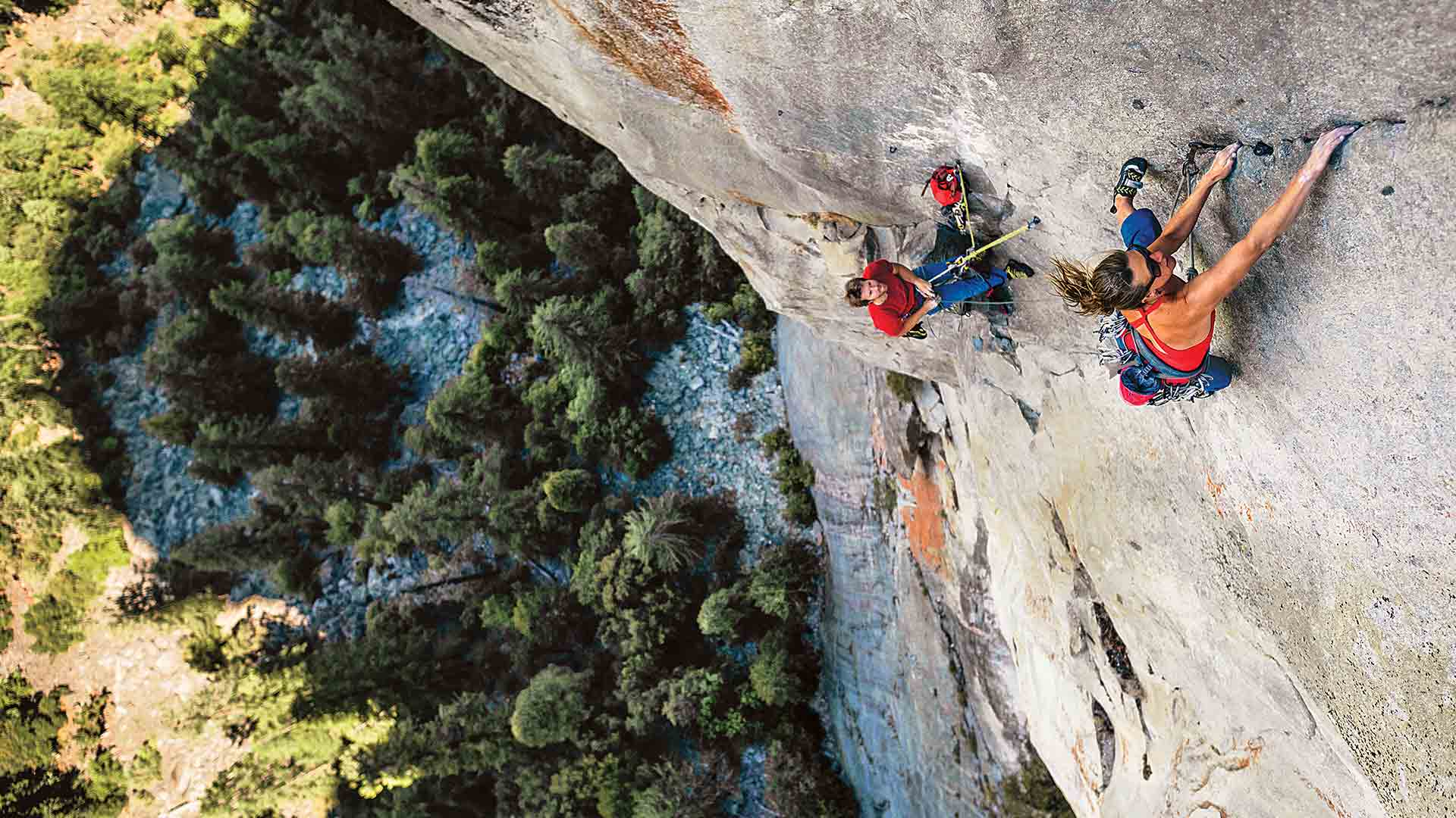 Steep learning curve. A winter of bouldering and overhanging sport climbing gives Kate Rutherford the power to free the steep and relentless Leaning Tower's West Face. Yosemite Valley National Park, California. KEN ETZEL