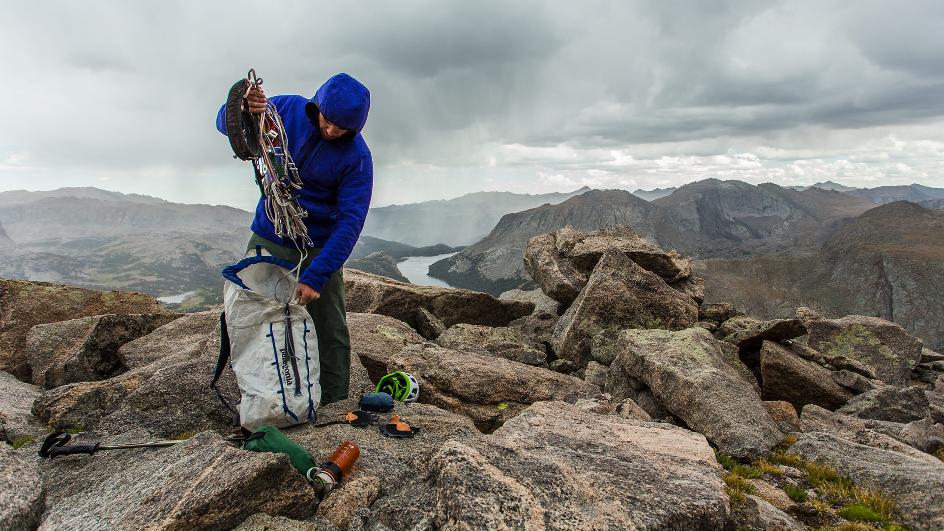 The pack before the storm: Josh Wharton makes a hasty exit. Wind River Range, Wyoming. JOHN DICKEY