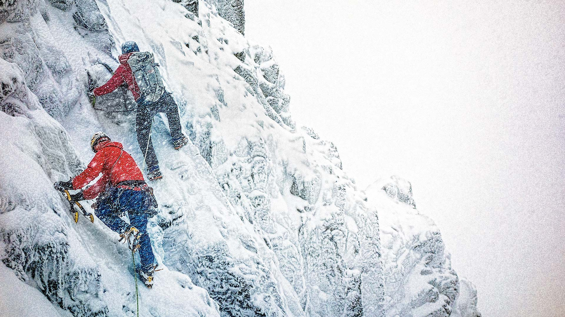 Josh Wharton and Steve House quest into the worsening weather of Ben Nevis, Scotland. MIKEY SCHAEFER